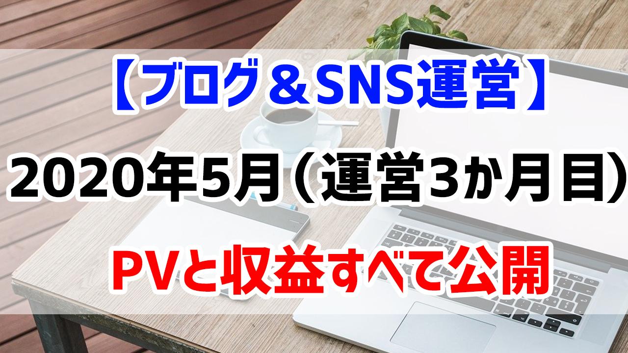 【ブログ&SNS運営】2020年5月(運営3か月目)のPVと収益すべて公開します。