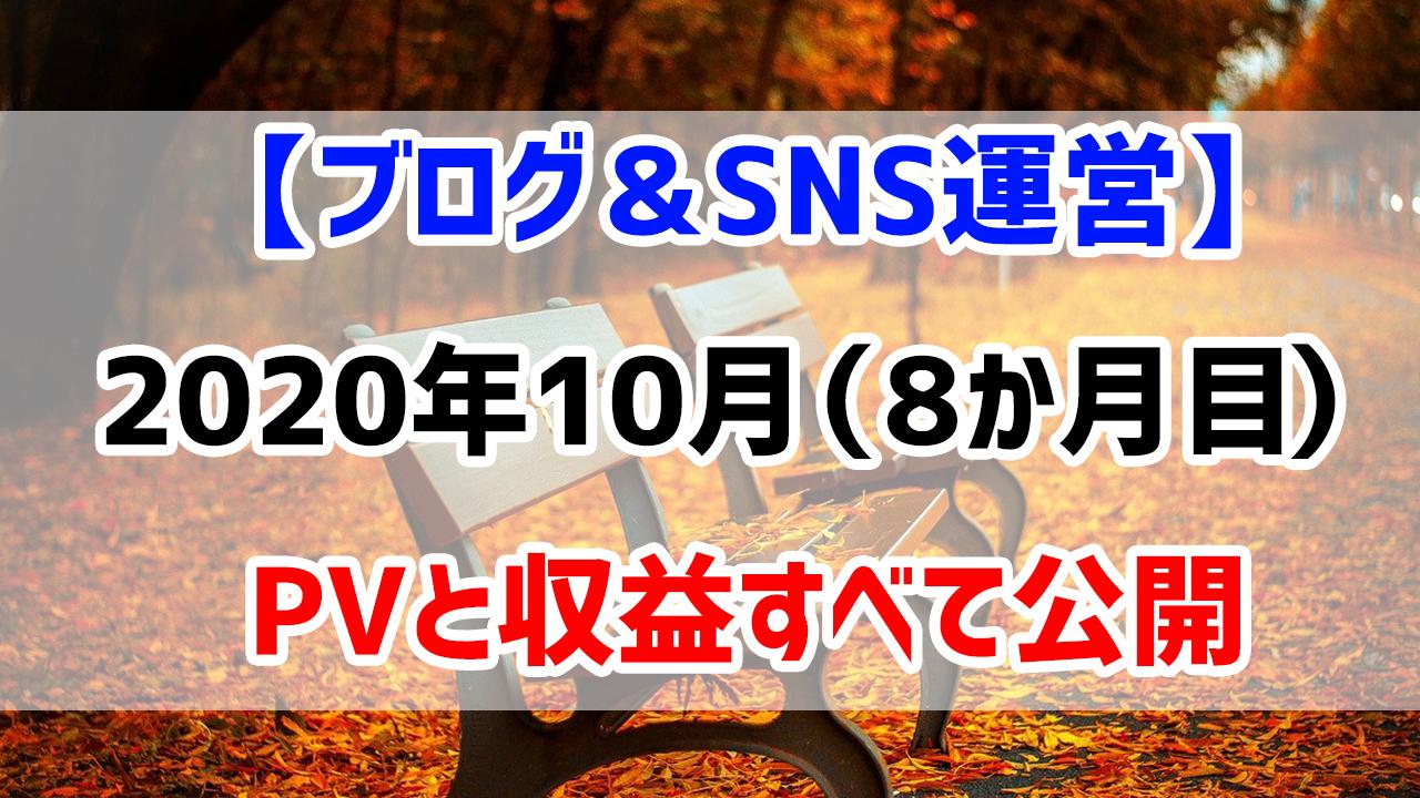 【ブログ&SNS運営】2020年10月(運営8か月目)のPVと収益すべて公開します