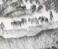 ネイルガンで釘を飛ばして書く水墨画のような絵が凄い!