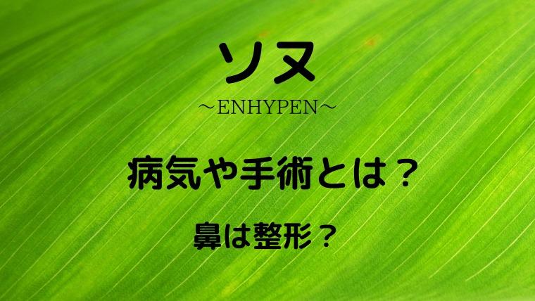ENHYPEN【ソヌ】の病気や手術とは?鼻が整形なのかも画像で比較!